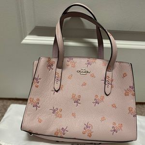 Pink Leather Flower Coach Purse